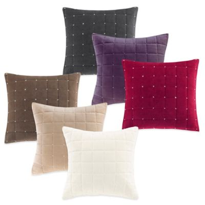 Quilted Velvet Square Throw Pillow in Red
