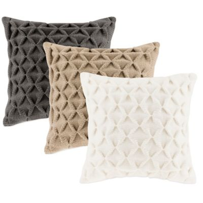 Waffle Knit Square Throw Pillow in Ivory