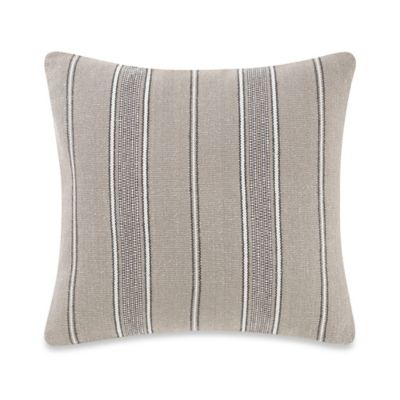 Kenneth Cole Reaction Home Awning Stripe Square Throw Pillow in Beige/Ivory