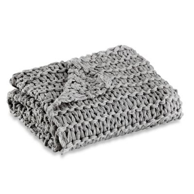 Kenneth Cole Reaction Home Chunky Knit Square Throw Blanket in Grey