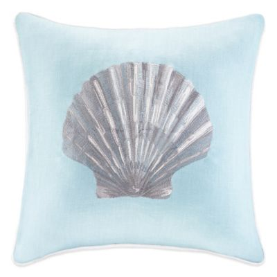 Linen Embroidered Seashell Square Throw Pillow