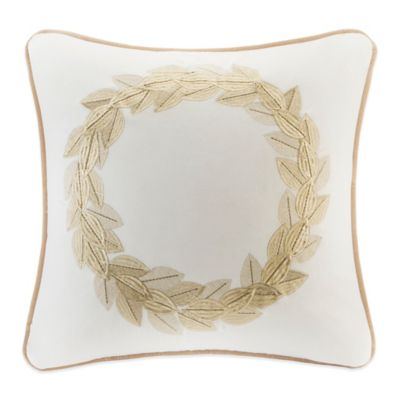 Gold Wreath Velvet Square Throw Pillow