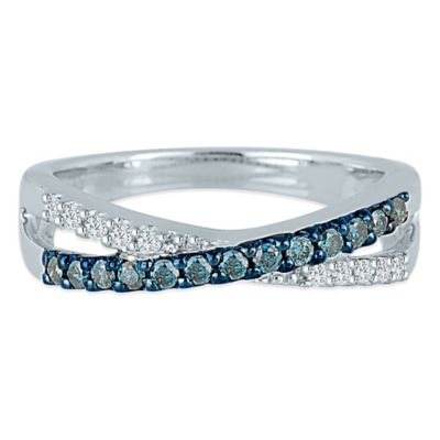 Sterling Silver .29 cttw Blue and White Diamond Size 7.5 Ladies' Crossover Ring