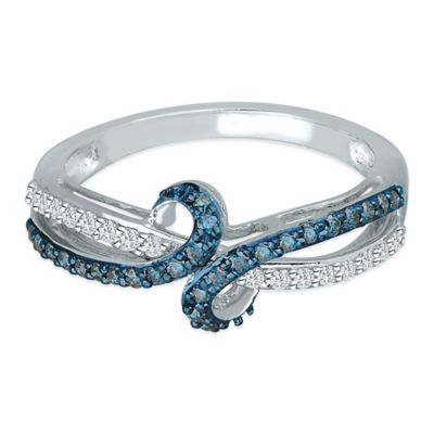 Sterling Silver .33 cttw Blue and White Diamond Size 7.5 Ladies' Scroll Ring