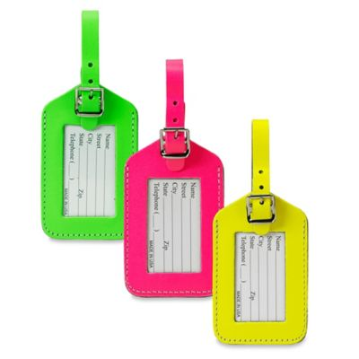 Neon Bonded Leather ID Luggage Tag in Pink