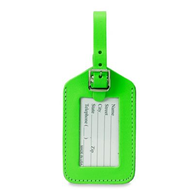 Neon Bonded Leather ID Luggage Tag in Green