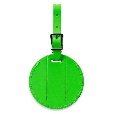 Neon Security Bonded Leather ID Luggage Tag in Green