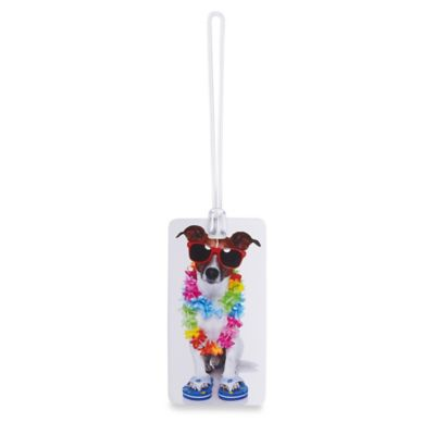 Dog with Lei ID Luggage Tag in White