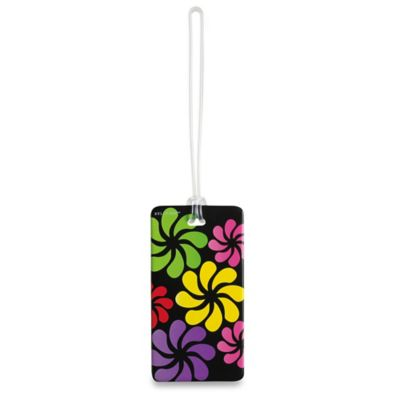 Black Floral ID Luggage Tag