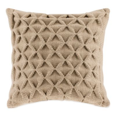 Waffle Knit Square Throw Pillow in Tan