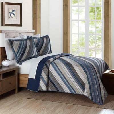 Brooklyn Loom Derby Yarn Dye Twin Quilt in Blue