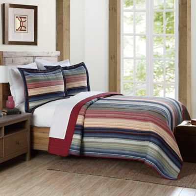 Brooklyn Loom Lake Stripe Yarn Dye Twin Quilt in Blue