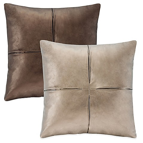 Throw Pillows Faux Leather : Faux-Leather Square Throw Pillow - Bed Bath & Beyond
