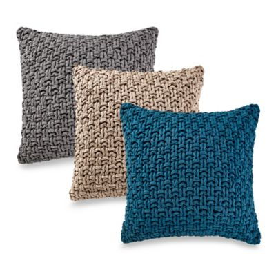 Kenneth Cole Reaction Home Chunky Knit Square Throw Pillow in Oatmeal