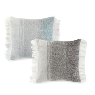 Kenneth Cole Reaction Home Mohair Knit Square Throw Pillow in Grey/Ivory