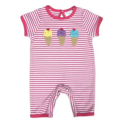 Little London by Albetta Size 3-6M Ice Cream Romper in Pink Stripe