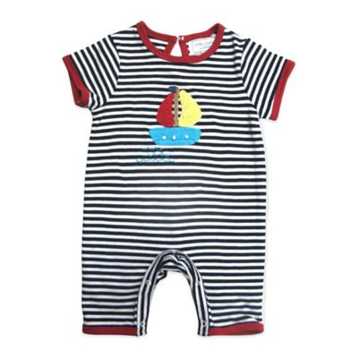 Little London by Albetta Size 0-3M Sailboat Romper in Navy Stripe
