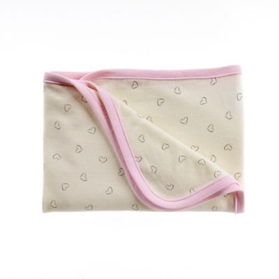 Sterling Baby Heart Print Receiving Blanket in Ivory/Pink