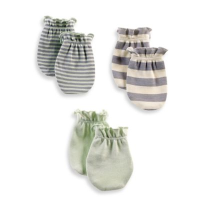 Sterling Baby Newborn 3-Pack Mittens in Mint/Cream/Grey