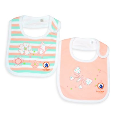 LuvGear™ Hot Alert™ 2-Pack Flower/Butterfly Bibs in Coral/Teal/White
