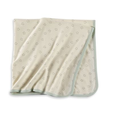 Sterling Baby Star Print Receiving Blanket in Ivory/Green