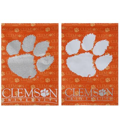 Clemson University Double-Sided Vertical Glitter Flag