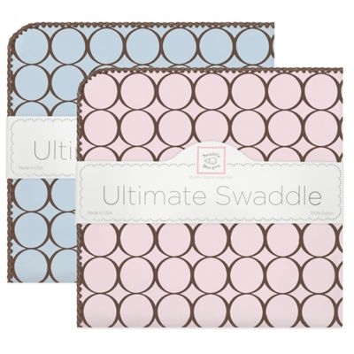Swaddle Designs® Receiving Blanket® with Brown Circles in Blue