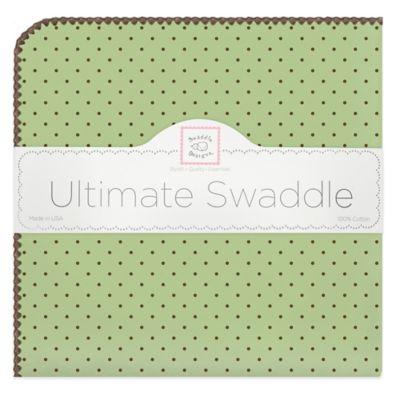 Swaddling Designs® Dot Flannel Swaddling Blanket in Lime Dot