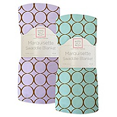 Swaddle Designs® Mocha Mod Circles Marquisette Swaddling Blanket
