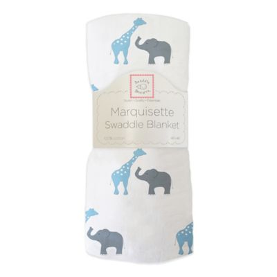 SwaddleDesigns® Safari Fun Marquisette Swaddle Blanket in Blue