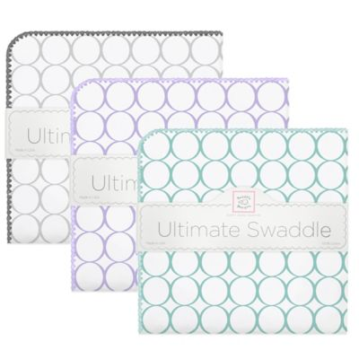 SwaddleDesigns® Ultimate Receiving Blanket with Mod Circles in Lavender on White