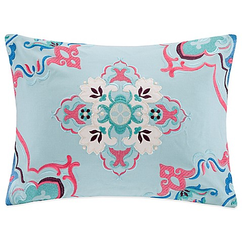 Buy Cotton Canvas Medallion Oblong Throw Pillow in Blue from Bed Bath & Beyond