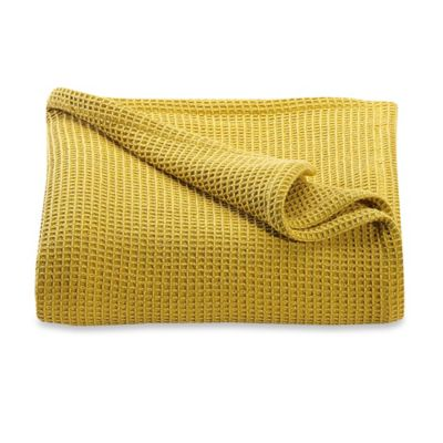 Kenneth Cole Reaction Home Waffle Full/Queen Blanket in Mustard