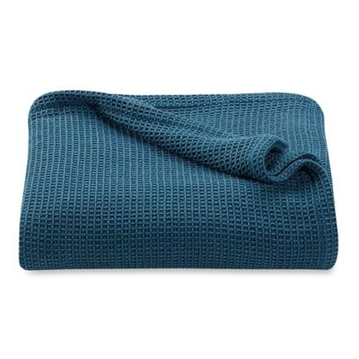 Kenneth Cole Reaction Home Waffle Full/Queen Blanket in Teal