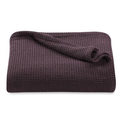 Kenneth Cole Reaction Home Waffle Full/Queen Blanket in Wine