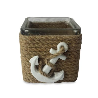 Rope Wrapped Glass Tealight Holder with Anchor