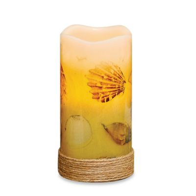 Seashells Flameless Pillar Candle with LED and Timer