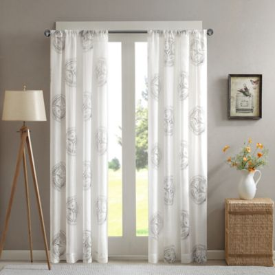 Cedar Ridge Compass Sheer 63-Inch Window Curtain Panel in Natural