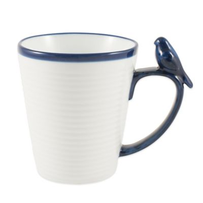 Everyday White® Blue Rim Bird Mug