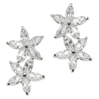 CZ by Kenneth Jay Lane Plated 6.0 cttw Cubic Zirconia Double-Navette Drop Earrings