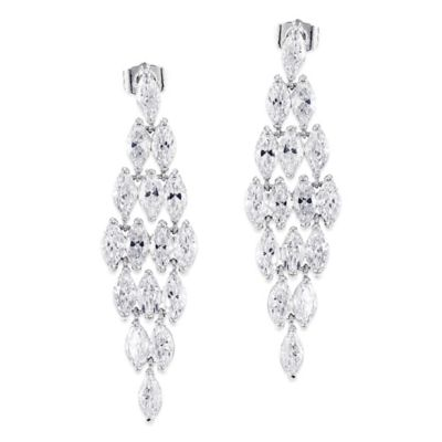 CZ by Kenneth Jay Lane Plated 8.0 cttw Cubic Zirconia Deco Chandelier Earrings