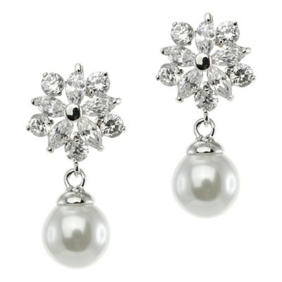 CZ by Kenneth Jay Lane Silvertone 5.0 cttw Cubic Zirconia Freshwater Cultured Pearl Drop Earrings