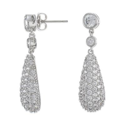 CZ by Kenneth Jay Lane Silvertone 12.0 cttw Cubic Zirconia Pave Bombe Teardrop Earrings