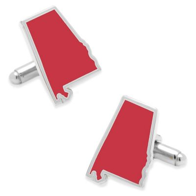 State of Alabama Cufflinks in Crimson