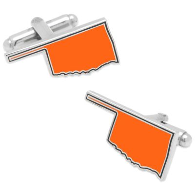 State of Oklahoma Cufflinks in Orange