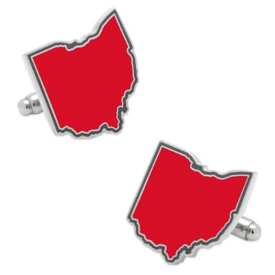 State of Ohio Cufflinks in Red
