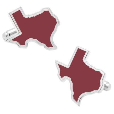 State of Texas Cufflinks in Maroon