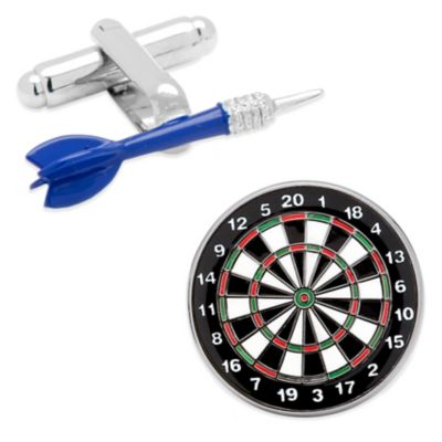 Dart and Dartboard Cufflinks in Blue