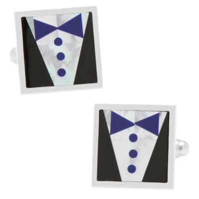 Blue Tie Tuxedo Cufflinks