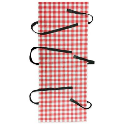 Wrap and Strap Small Picnic Table Cover with Straps in Red Gingham